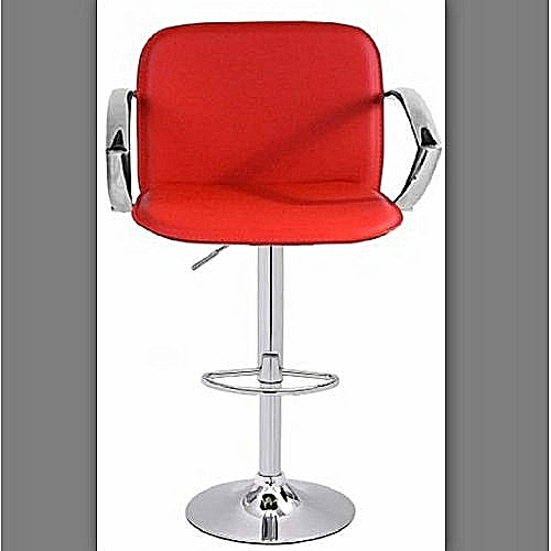 Bar Stool With Arm Rest- Red