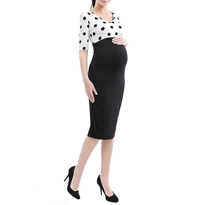 4df7041b43948 Maternity Pregnant Women Short Sleeve Print Dot Formal Pencil Tube Dress  Uniform