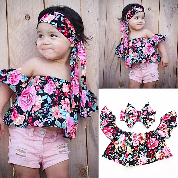 02850dad61a9 Kids Baby Girls Princess Floral Off Shoulder Tops+Headband Outfits Set  Clothes