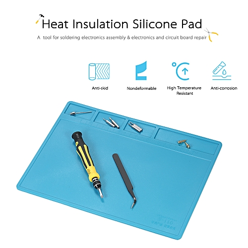 280*200mm Heat Insulation Silicone Pad For BGA Soldering Repair Solder Station Mat High Temperature Maintenance Platform With Ruler And Screw Notches