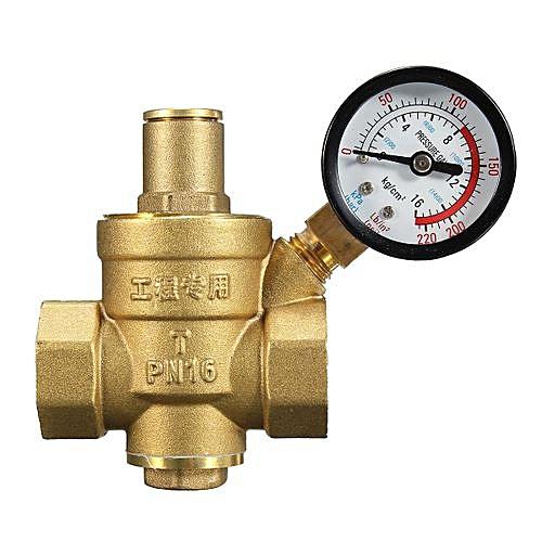 """DN20 NPT 3/4"""" Adjustable Brass Water Pressure Regulator Reducer With Gauge Meter"""