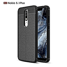 Nokia 5.1 Plus (Nokia X5) Screen Protector 9D + Silicone Case Litchi Pattern TPU