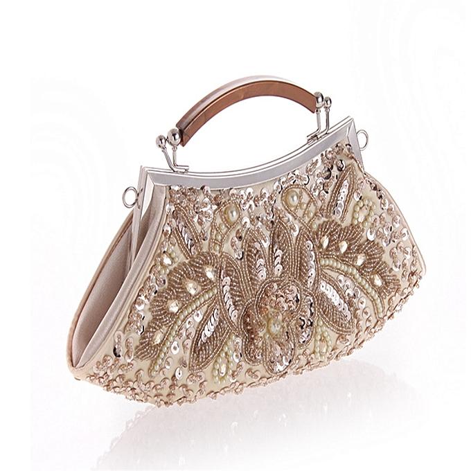 Fashion Women s Vintage Retro Fan-shaped Seed Beaded Sequin Flower Clutches  Purses Evening Bags Dinner Handbag Shoulder Bag For Wedding Bridal Prom  Party e7d29e5e17128