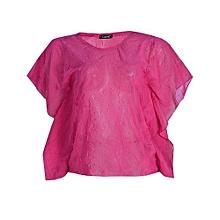 b3ec76ef6d7 Favorito Embossed Chiffon Frill Sleeve Blouse - Pink