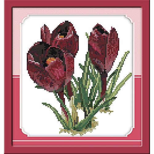 Cross Stitch Stamped Kits Pre-Printed Cross-Stitching Patterns For Beginner Purple Tulip 28*33cm