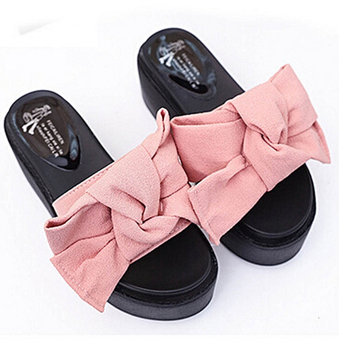 3fdff785935 Jiahsyc Store Women Comfy Plain Rubber Slippers Flip Flop Bow Sliders High  Heel Sandals PK