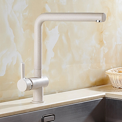 Oatmeal Color Brass 360° Rotation Kitchen Faucet Hot & Cold Swivel Spout Basin Sink Mixer Taps