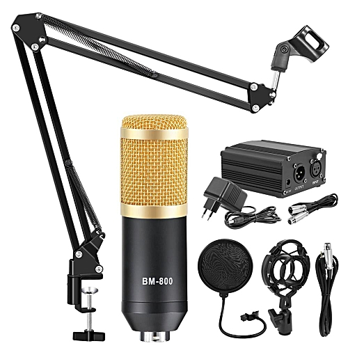 BM-800 Condenser Microphone Professional Mic Kit With Adjustable Mic Suspension Scissor Stand For Studio Rrecording Karaoke Mic