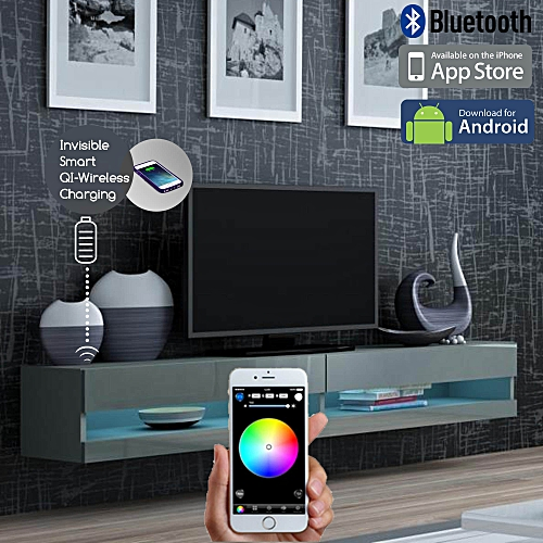 Smart LED Control Wireless Fast Charging Wall Mount TV Stand 2.0