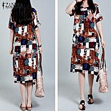 30f2d9fa6cb 3 Colors ZANZEA Women Oversized Retro Plaid Rodom Print Dress Casual Summer  Short Sleeve Loose Pockets