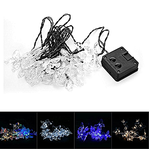 1pc Blue Light Solar Powered LED Decorative Garden Window Porch Lawn Fairy Lamp Twinkling Butterfly String Lights