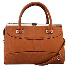 3 Compartment Hand Bag Brown