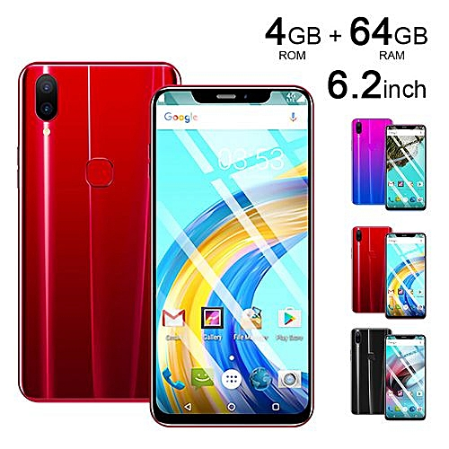 X21 Mobile Smart Phone Red Gradient Pink 6.2 Inch 4G + 64G Android 8.1 Oreo Dual SIM - Red/Multi
