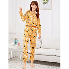 3a28a780233 Cat  amp  Butterfly Print Pajama Set - Yellow