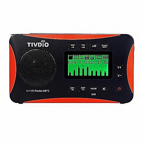 TIVDIO V-116 Portable Shortwave Radio With FM MW SW Transistor Support Micro-SD Card AUX Input MP3 Player Speaker Alarm World Receiver USB/SD Card Sleep Timer Alarm Clock /E-book/Calendar