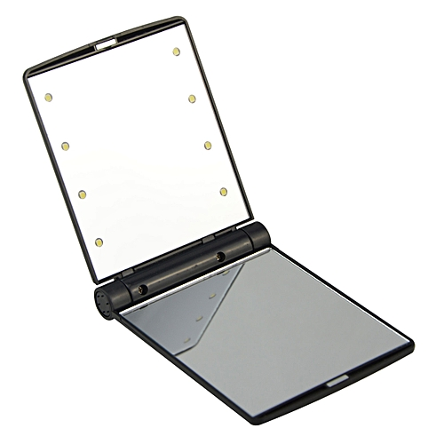 Lithe Fold Make-up Cosmetic Mirror W/ 8-LED Light - Black