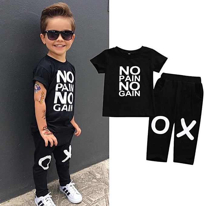 b461db728 Fashion Toddler Kids Baby Boy Outfits Clothes No Pain No Gain T ...
