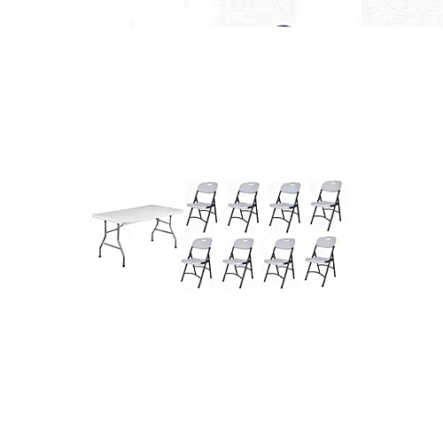 Rectangular 5 Feets Plastic Table With Foldable Metal Legs Chair -White