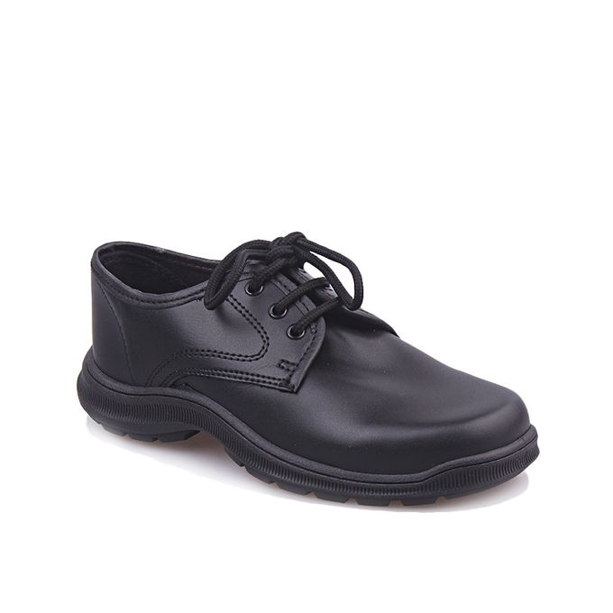 Kids Leather School Shoes - Black
