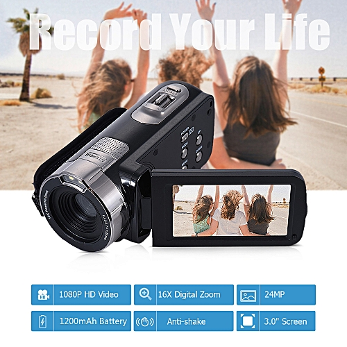 3.0 Inch Full HD 1080P 24MP 16X Digital Zoom Anti-shake Digital Video DV Camera Camcorder
