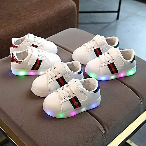 Baby Fashion Sneakers LED Luminous Child Toddler Casual Colorful Light Shoes - White