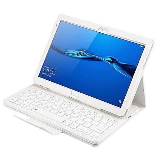 SA104 Huawei M3 Tablet 10.1 Inch ABS Litchi Texture Horizontal Flip Case + Bluetooth Keyboard(White)