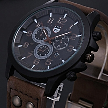 Vintage Classic Men's Waterproof Military Quartz Date Leather Strap Watch - Brown