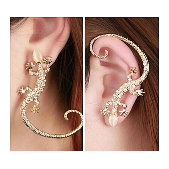 391f361e2 1Pc Punk Gecko Ear Cuffs Stud Earrings For Women Fashion Cobra Snake Ear  Clips Gold Plated