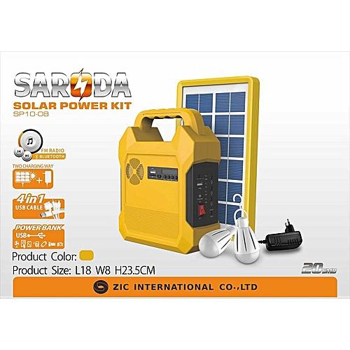 Solar Generator Kit USB Port And 3DC Jacks For Bulbs
