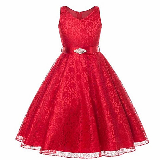 d9e566ba54f Pageant Flower Girl Dress Kids Birthday Wedding Bridesmaid Gown Formal  Dresses (Color Red) ...