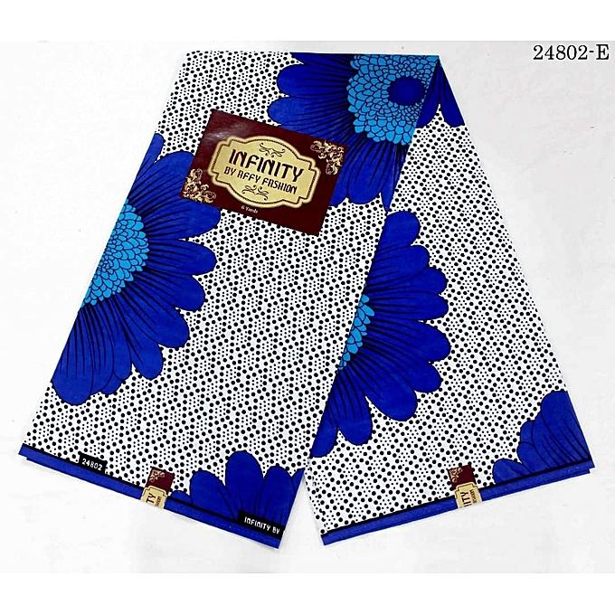Infinity a Silver And Royal Blue Ankara 6 Yards