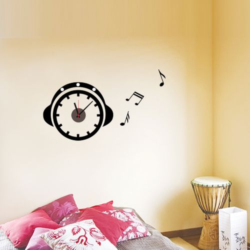 3d wall clock 3d wall clock sticker head phones buy for Home decorations on jumia