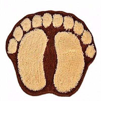 Large Foot Shaped Door Mat- Brown & Cream