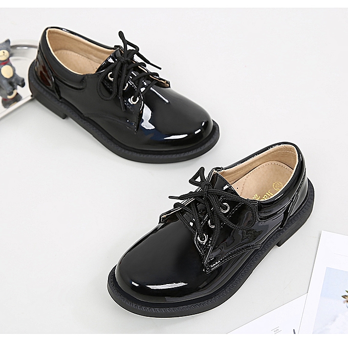 76460c5c5698c Boys Leather Shoes Black Autumn Children Shoes Boys And Girls Leather Shoes  For Kids Baby Rubber Pattern